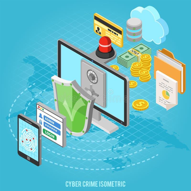 Conceito isométrico do crime do Cyber ilustração do vetor
