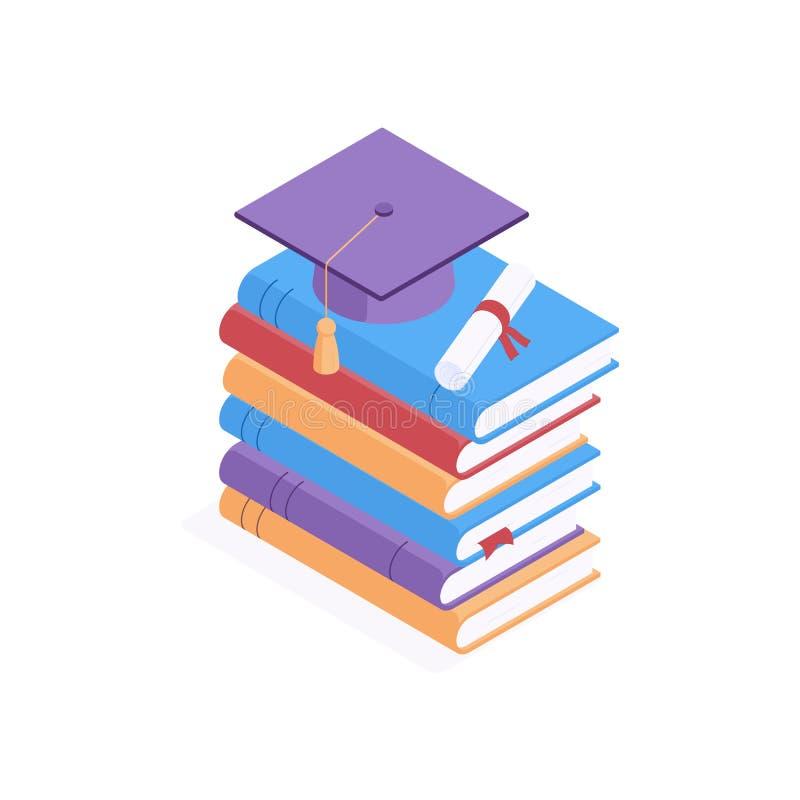 Conceito isométrico do ensino - limite acadêmico quadrado e diploma que se encontram sobre uma pilha de livros em papel colorido  ilustração royalty free