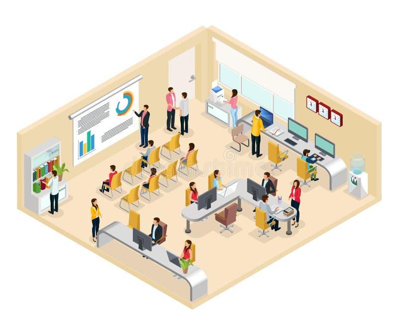 Conceito isométrico do escritório de Coworking ilustração stock