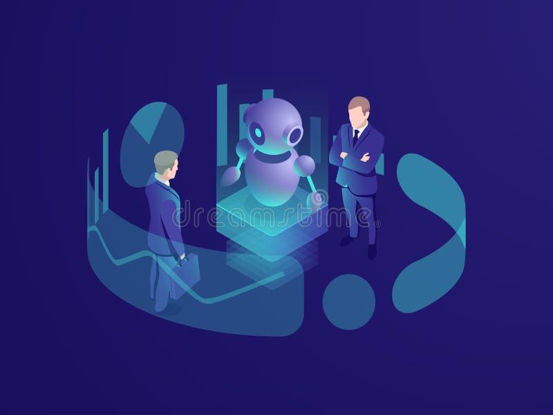 Conceito isométrico do homem que pensa, sistema do negócio do crm, robô ai da inteligência artificial, agência de consulta, esper ilustração royalty free
