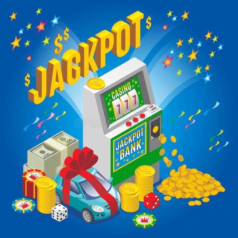 Conceito isométrico do jackpot ilustração stock