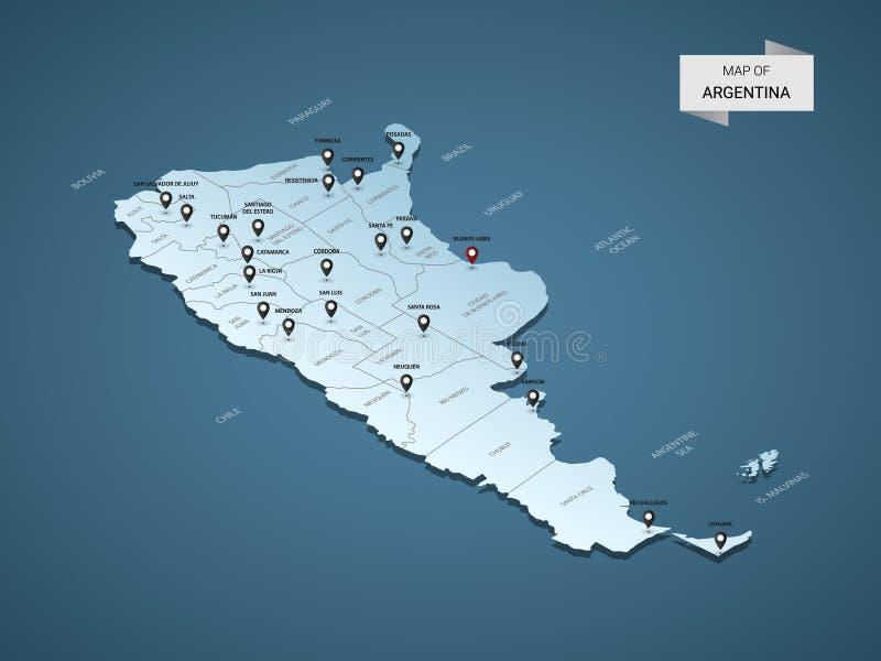 Conceito isométrico do mapa do vetor de 3D Argentina ilustração royalty free