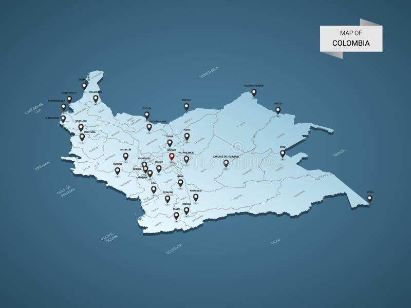 Conceito isométrico do mapa do vetor de 3D Colômbia ilustração royalty free