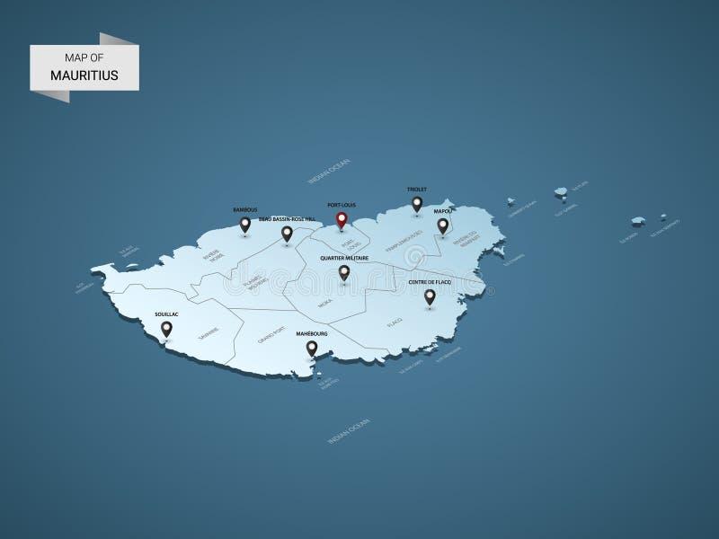 Conceito isométrico do mapa do vetor de 3D Maurícias ilustração stock