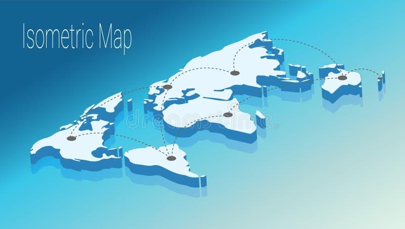 Conceito isométrico do mundo do mapa ilustração 3d lisa ilustração royalty free