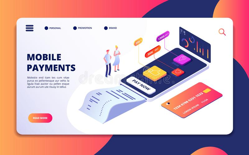 Conceito isométrico do pagamento em linha Depositando o app de compra do telefone celular Proteção do cartão de crédito, Internet ilustração stock