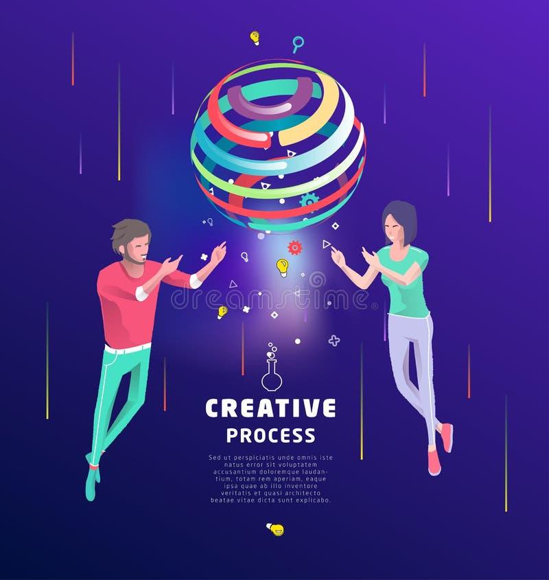 Conceito isométrico do processo criativo Conceito do negócio ilustração royalty free
