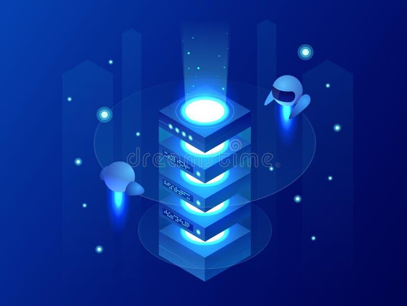 Conceito isométrico do processo de dados grande, estação do futuro, cremalheira da energia da sala do servidor, centro de dados f ilustração do vetor