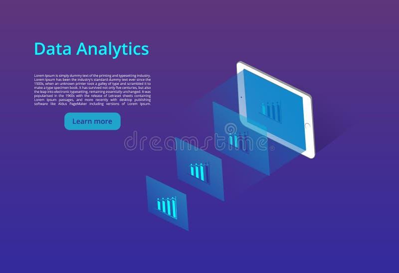 Conceito isométrico do projeto da análise de dados para o Web site e o Web site móvel Molde da página da aterragem ilustração stock