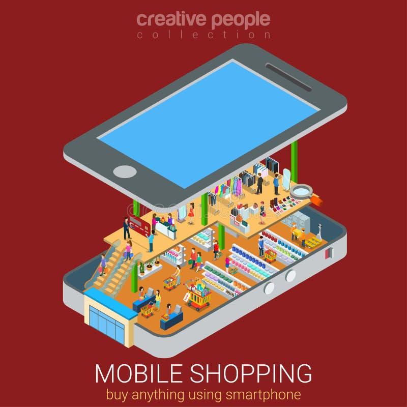 Conceito isométrico do supermercado móvel ilustração stock