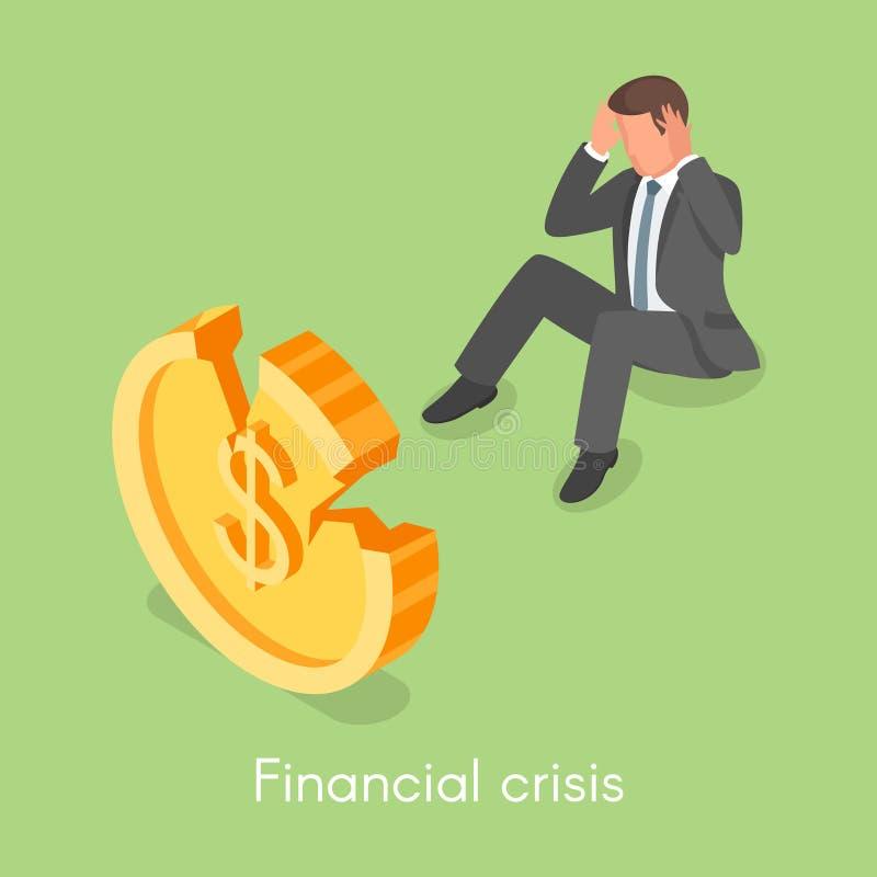 Conceito isométrico do vetor 3d para a crise financeira ilustração stock