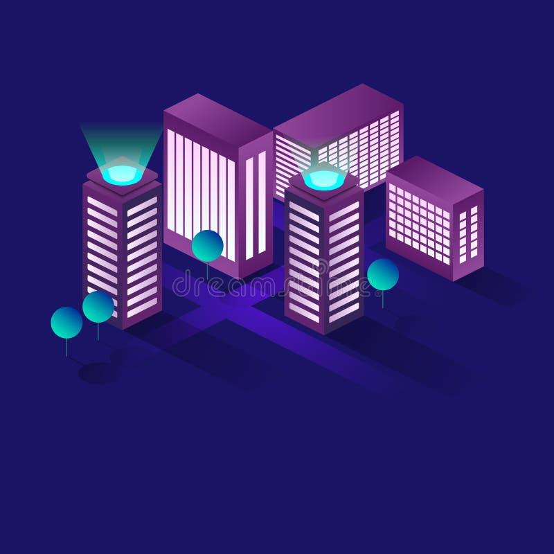 Conceito isométrico do vetor da cidade esperta ou da construção inteligente Automatização da construção com ilustração dos trabal ilustração stock