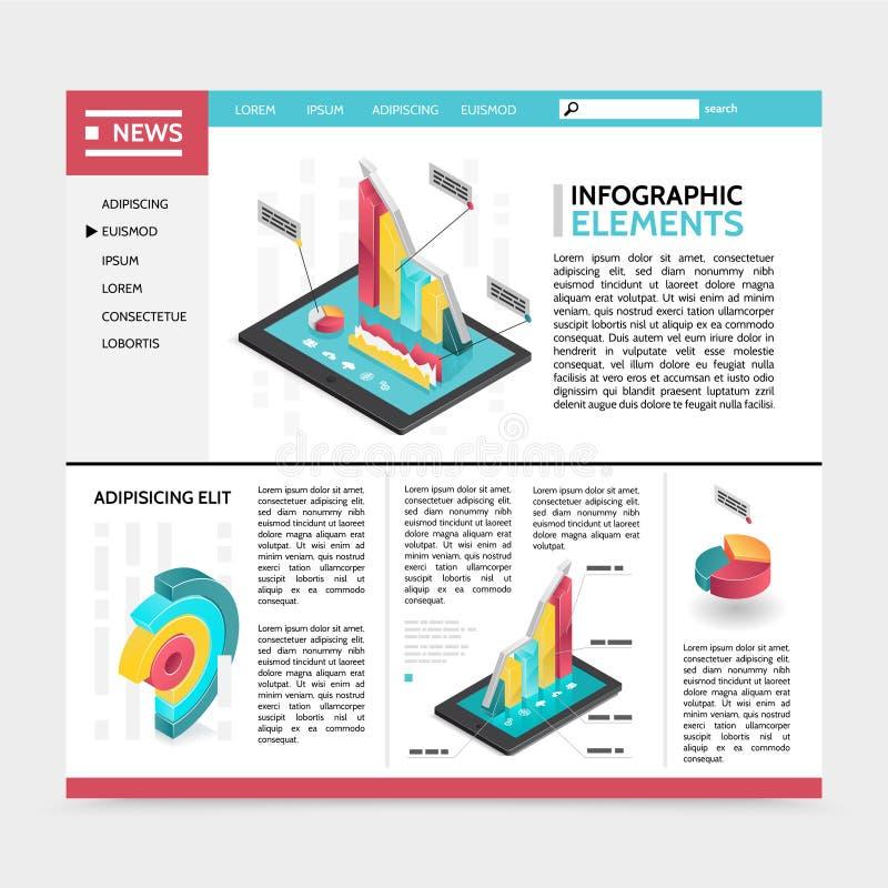 Conceito isométrico do Web site dos elementos de Infographic ilustração royalty free