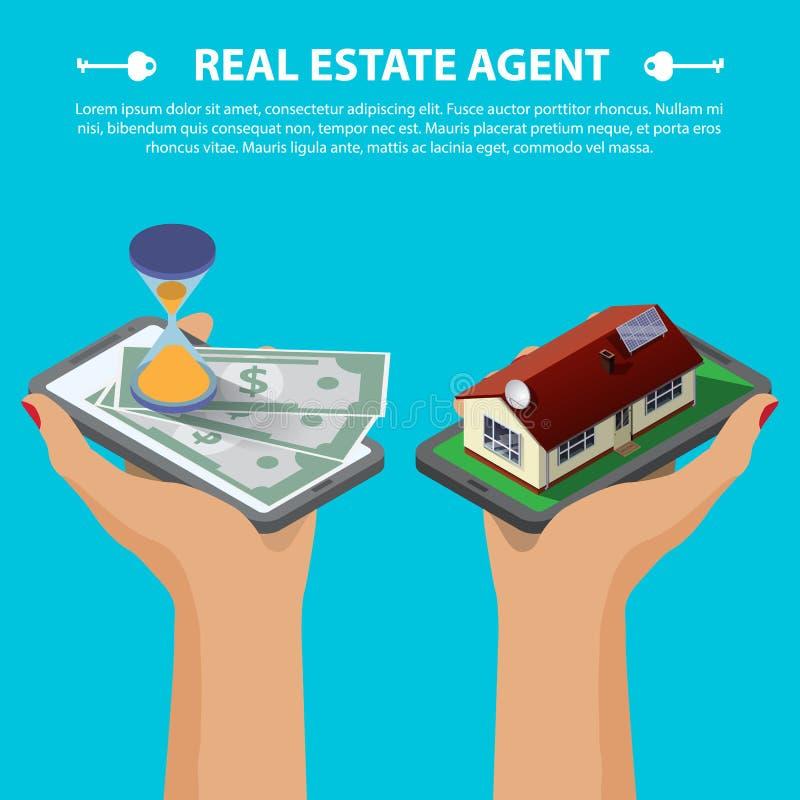 Conceito isométrico dos bens imobiliários ilustração royalty free