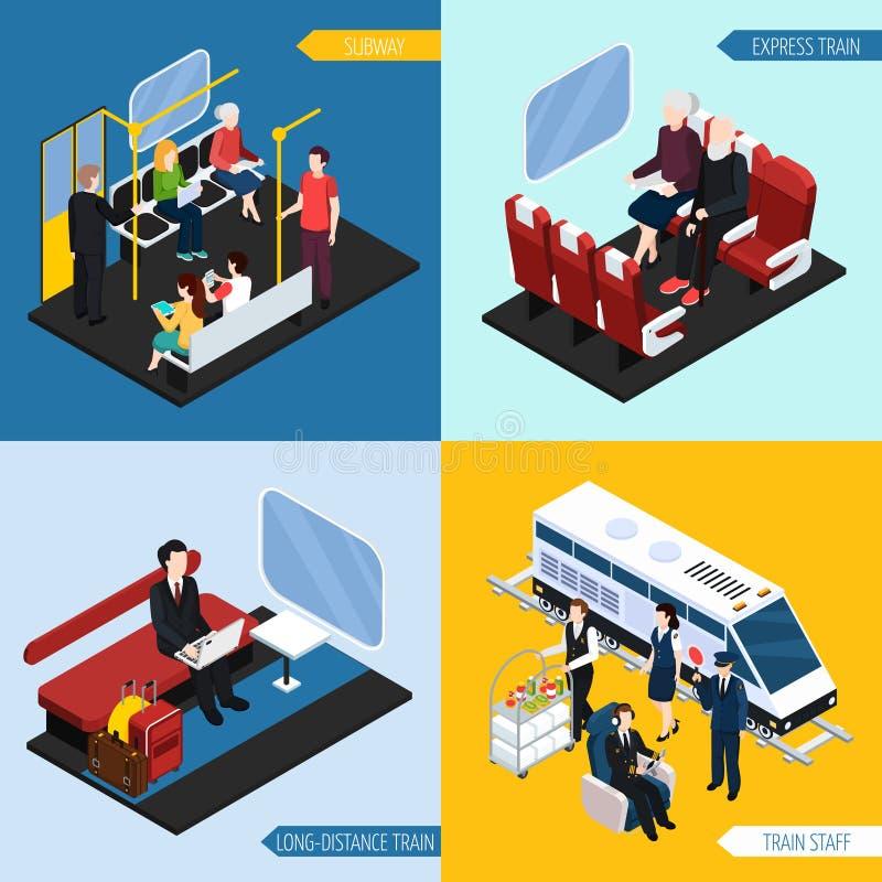 Conceito isométrico dos passageiros interiores do trem ilustração stock