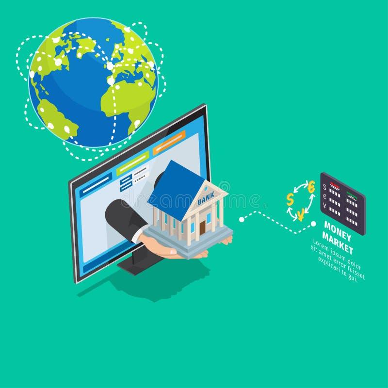 Conceito isométrico global do serviço de operação bancária em linha ilustração stock