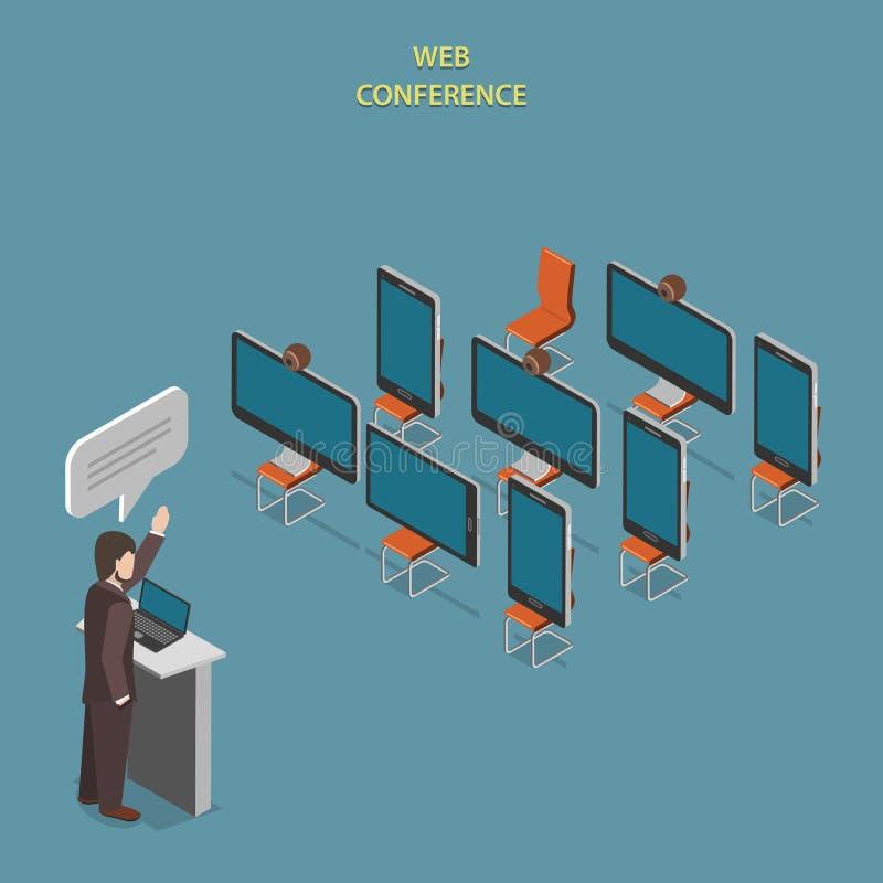 Conceito isométrico liso do vetor da conferência da Web ilustração stock