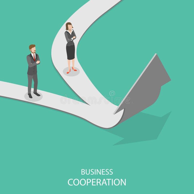 Conceito isométrico liso do vetor da cooperação do negócio ilustração stock