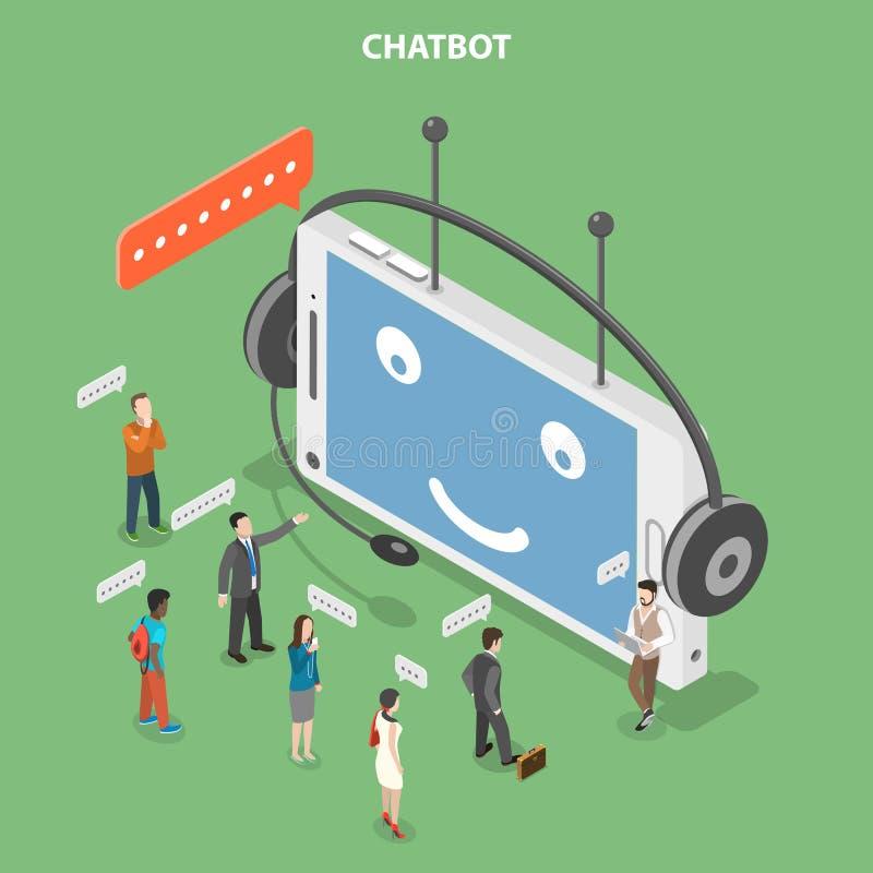 Conceito isométrico liso do vetor de Chatbot ilustração stock