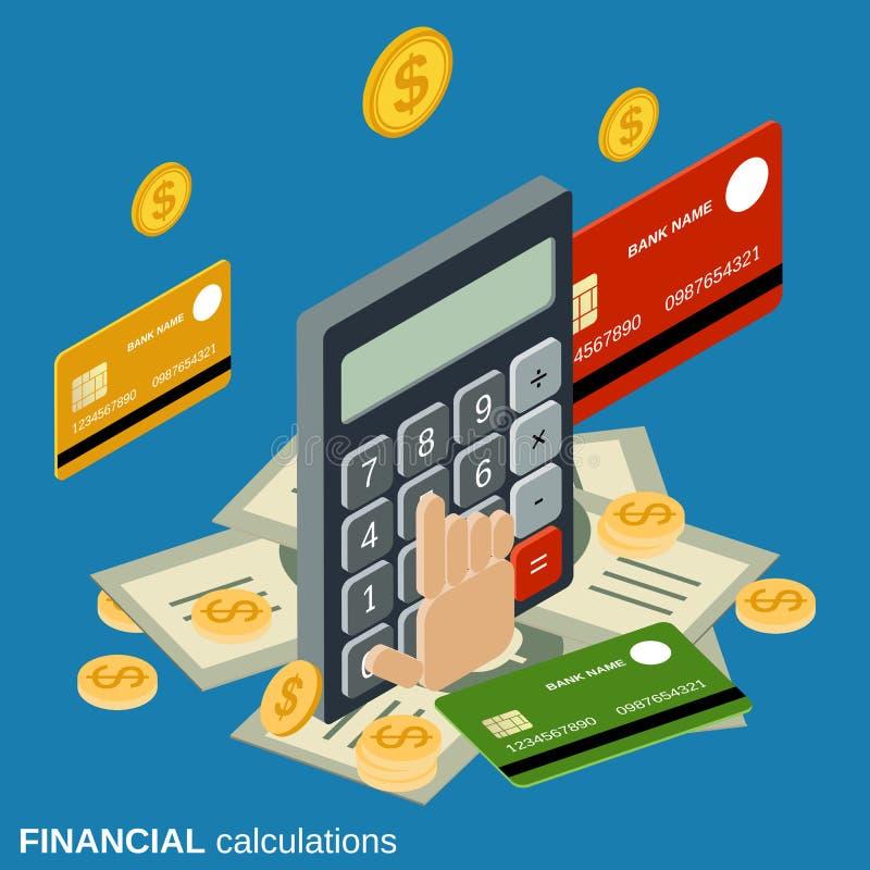 Conceito isométrico liso do vetor dos cálculos financeiros ilustração do vetor