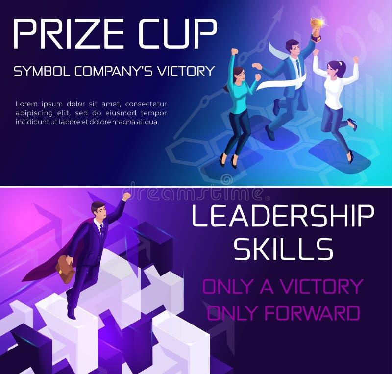 Conceito Isometrics do negócio, conseguindo o objetivo, as qualidades da liderança, o crescimento do negócio e os projetos do neg ilustração stock