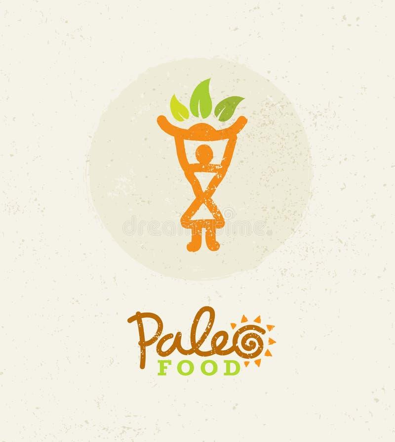 Conceito limpo do vetor comer do alimento de Paleo no fundo orgânico ilustração royalty free