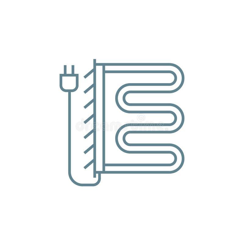 Conceito linear caloroso bonde do ícone do trilho de toalha Sinal caloroso bonde do vetor da linha ferroviária de toalha, símbolo ilustração royalty free