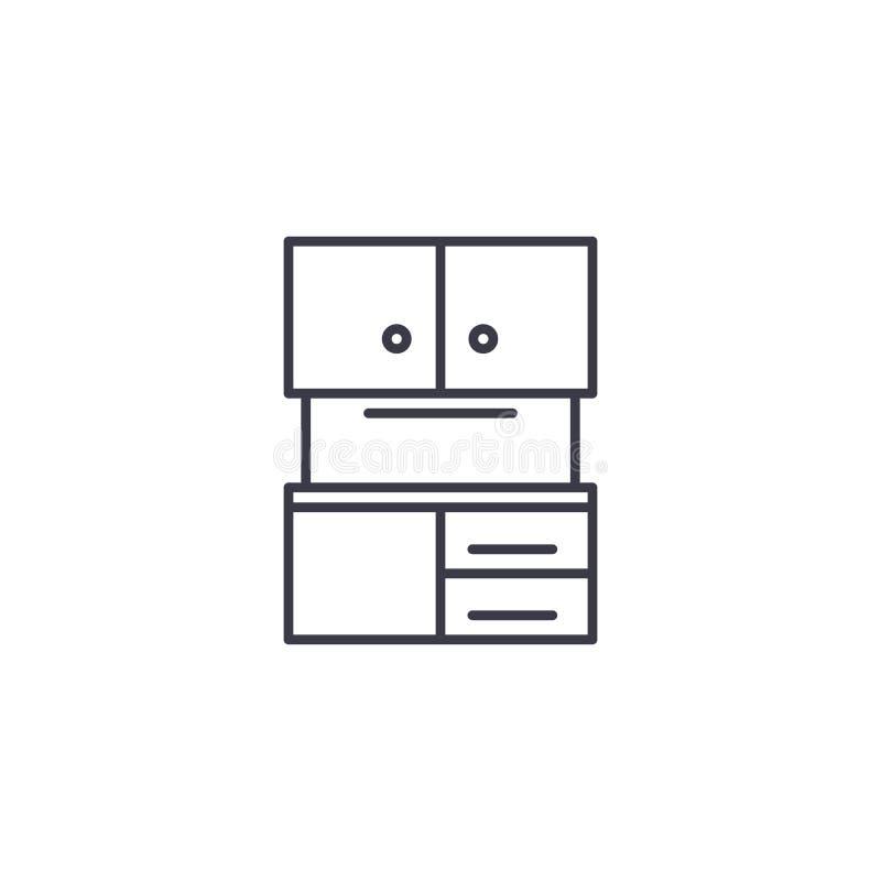 Conceito linear do ícone do armário de cozinha Linha sinal do armário de cozinha do vetor, símbolo, ilustração ilustração stock