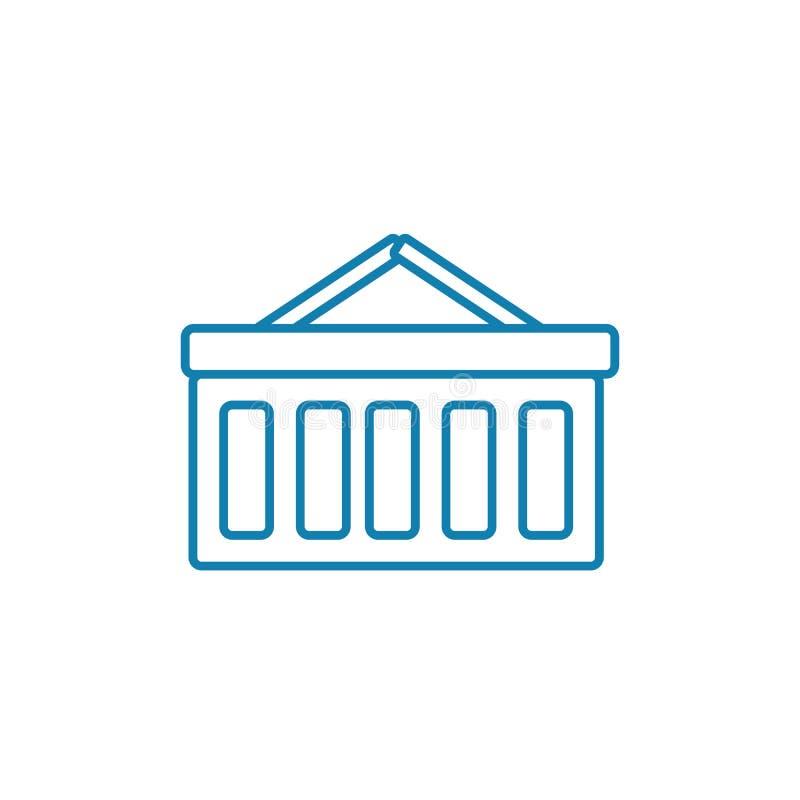 Conceito linear do ícone do armazém Linha sinal do armazém do vetor, símbolo, ilustração ilustração royalty free