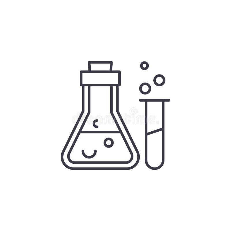 Conceito linear do ícone da análise química Linha sinal da análise química do vetor, símbolo, ilustração ilustração do vetor