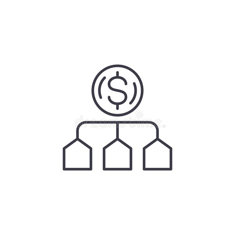 Conceito linear do ícone da atribuição de custo Linha de atribuição sinal do custo do vetor, símbolo, ilustração ilustração do vetor