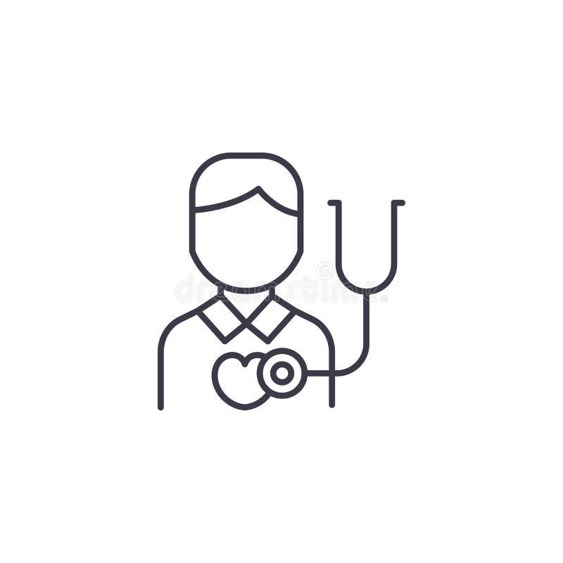Conceito linear do ícone da auscultação da frequência cardíaca Linha sinal da auscultação da frequência cardíaca do vetor, símbol ilustração royalty free