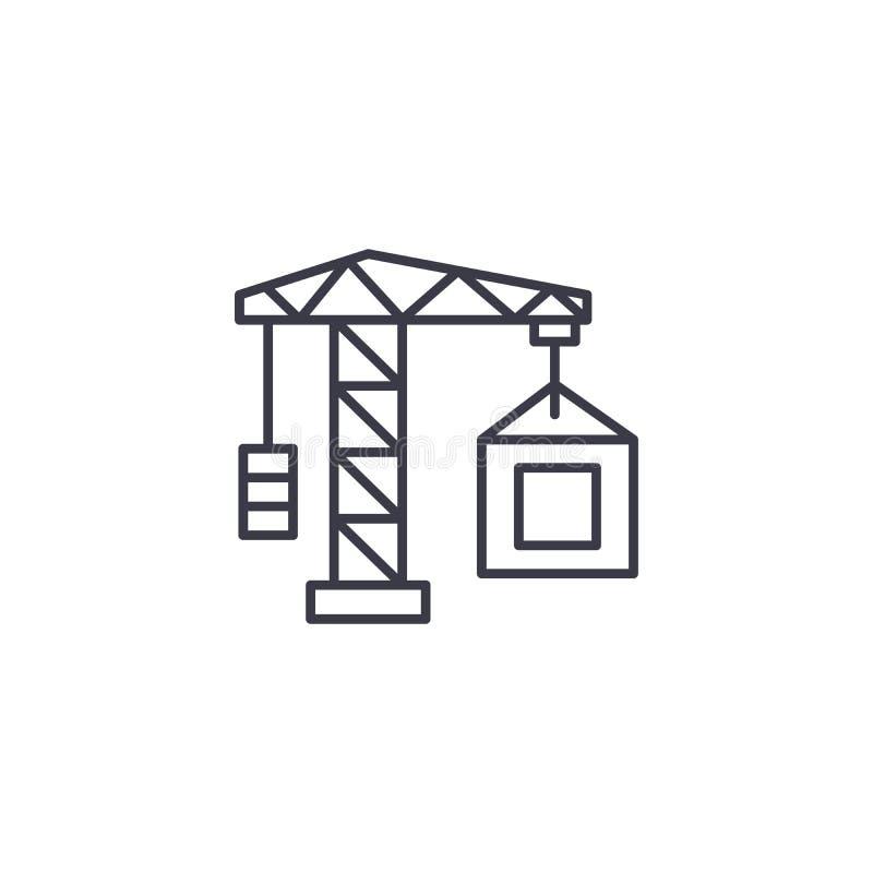Conceito linear do ícone da construção do guindaste dos bens imobiliários Linha sinal da construção do guindaste dos bens imobili ilustração royalty free