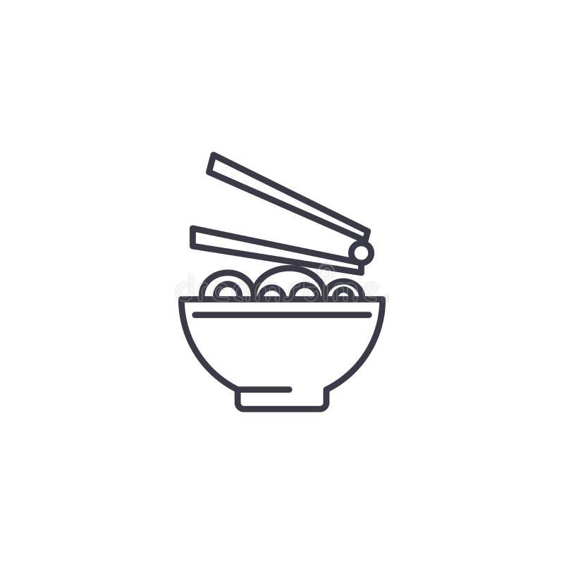 Conceito linear do ícone da cozinha japonesa Linha japonesa sinal da cozinha do vetor, símbolo, ilustração ilustração stock