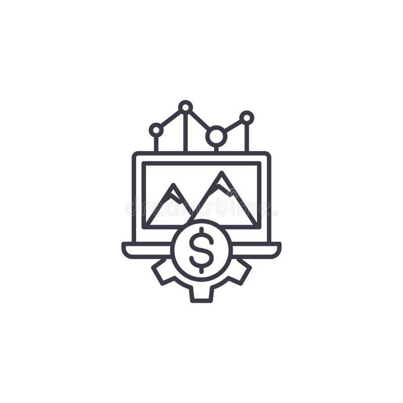 Conceito linear do ícone da dinâmica da renda A dinâmica da renda alinha o sinal do vetor, símbolo, ilustração ilustração stock