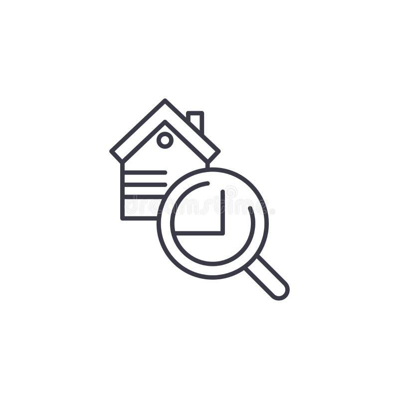 Conceito linear do ícone da inspeção dos bens imobiliários Linha sinal da inspeção dos bens imobiliários do vetor, símbolo, ilust ilustração stock