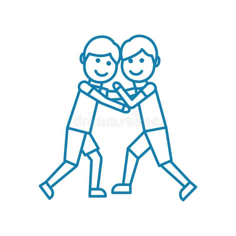 Conceito linear do ícone da luta romana de estilo livre Linha sinal da luta romana de estilo livre do vetor, símbolo, ilustração ilustração do vetor