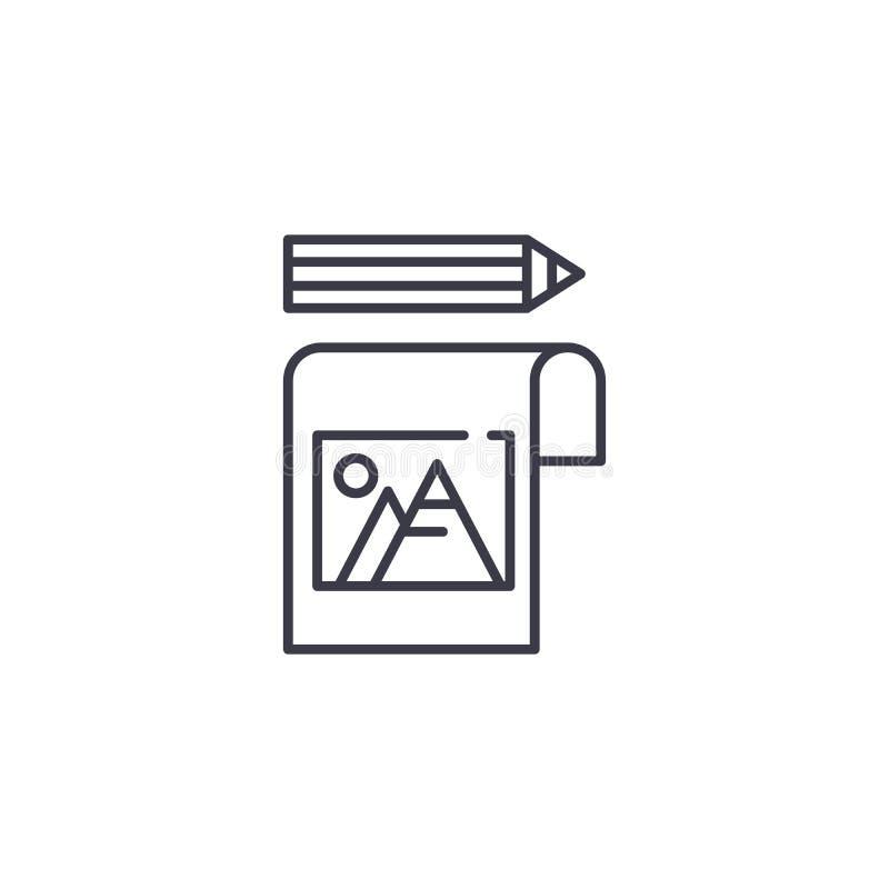 Conceito linear do ícone da nota da imagem Represente a linha sinal da nota do vetor, símbolo, ilustração ilustração stock