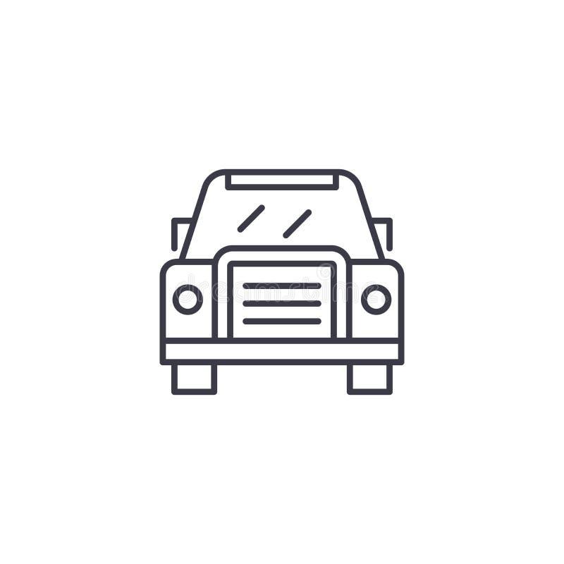 Conceito linear do ícone da opinião dianteira do carro Linha sinal da opinião dianteira do carro do vetor, símbolo, ilustração ilustração royalty free
