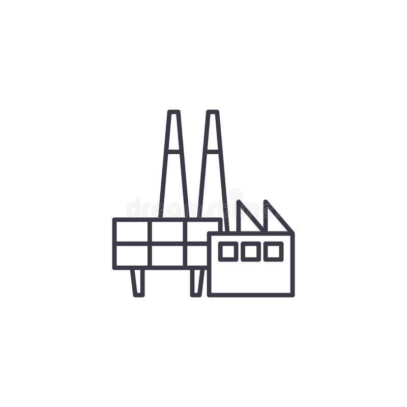 Conceito linear do ícone da plataforma petrolífera Linha sinal da plataforma petrolífera do vetor, símbolo, ilustração ilustração royalty free