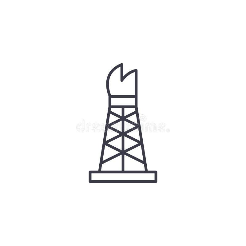 Conceito linear do ícone da plataforma petrolífera Linha sinal da plataforma petrolífera do vetor, símbolo, ilustração ilustração do vetor