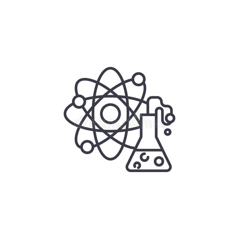 Conceito linear do ícone da química Linha sinal da química do vetor, símbolo, ilustração ilustração stock