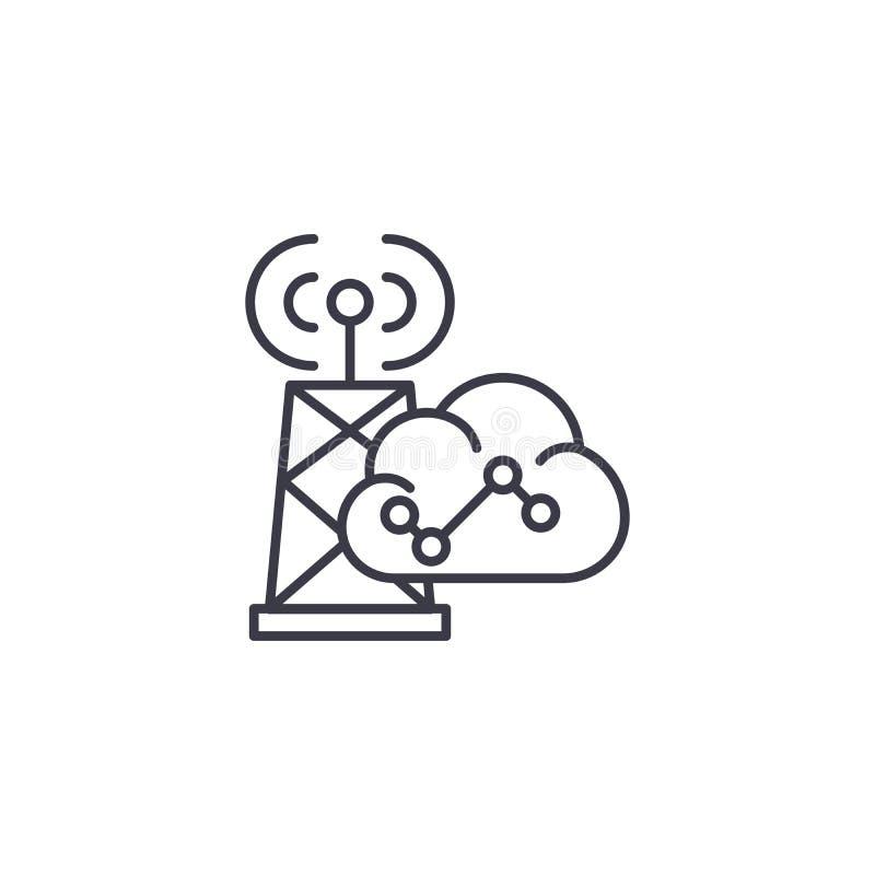 Conceito linear do ícone de uma comunicação sem fio Linha de comunicação sem fio sinal do vetor, símbolo, ilustração ilustração royalty free