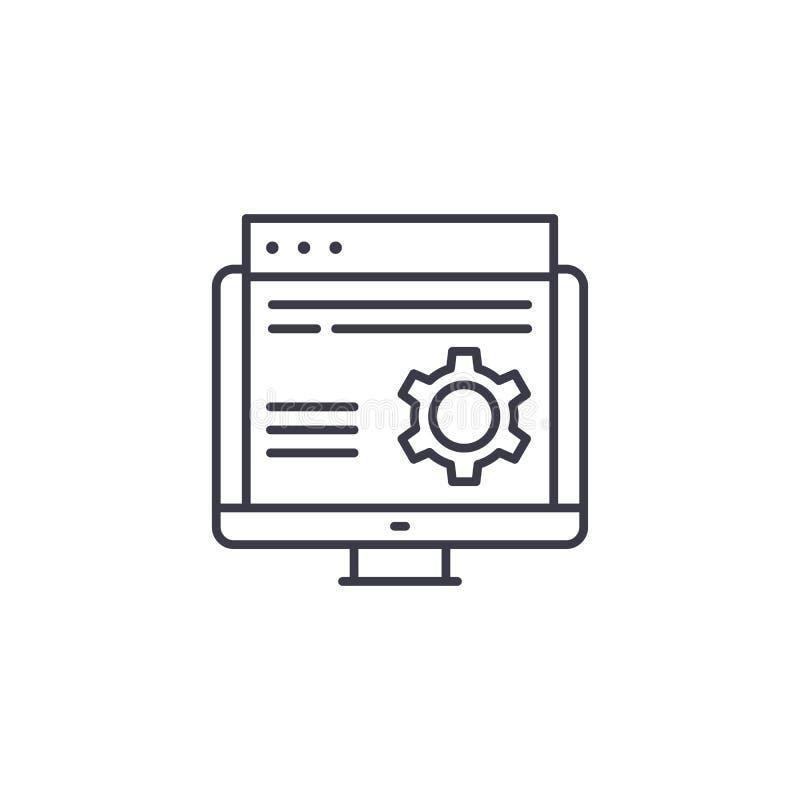 Conceito linear do ícone do desenvolvimento da site Linha sinal do desenvolvimento da site do vetor, símbolo, ilustração ilustração do vetor
