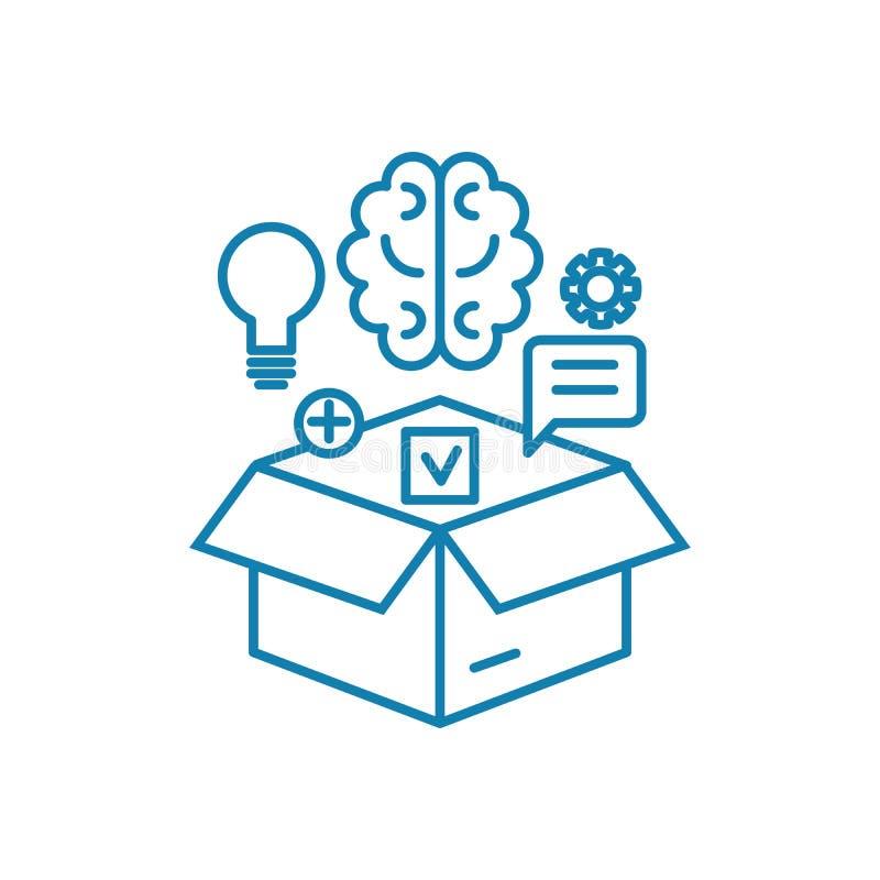 Conceito linear do ícone dos recursos intelectuais Os recursos intelectuais alinham o sinal do vetor, símbolo, ilustração ilustração stock