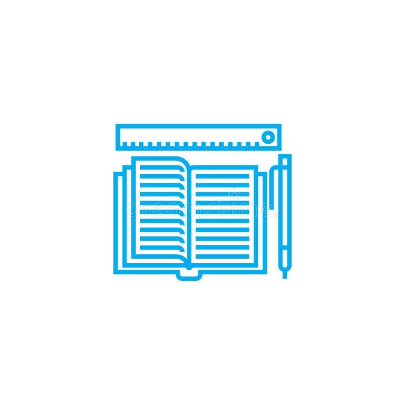 Conceito linear do ícone do jornal da contabilidade Linha sinal do jornal da contabilidade do vetor, símbolo, ilustração ilustração stock