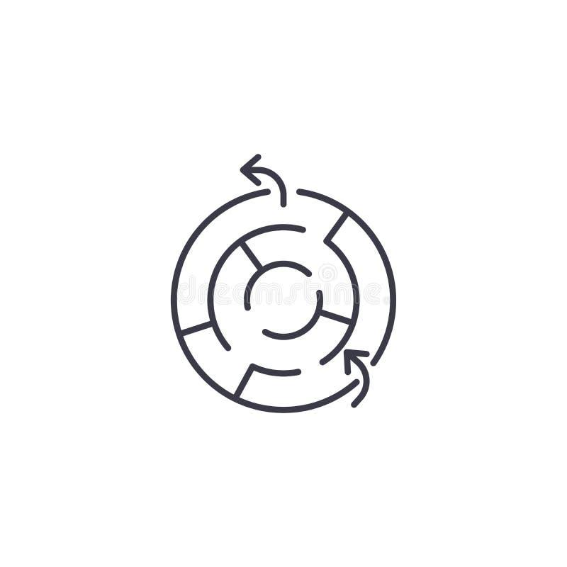 Conceito linear do ícone do labirinto Linha sinal do labirinto do vetor, símbolo, ilustração ilustração stock