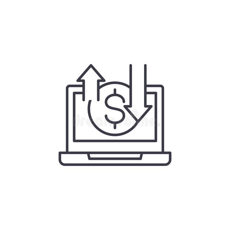 Conceito linear do ícone do negócio em linha Sinal em linha do vetor da área de negócio, símbolo, ilustração ilustração stock