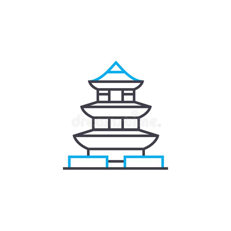 Conceito linear do ícone do pagode Linha sinal do pagode do vetor, símbolo, ilustração ilustração stock