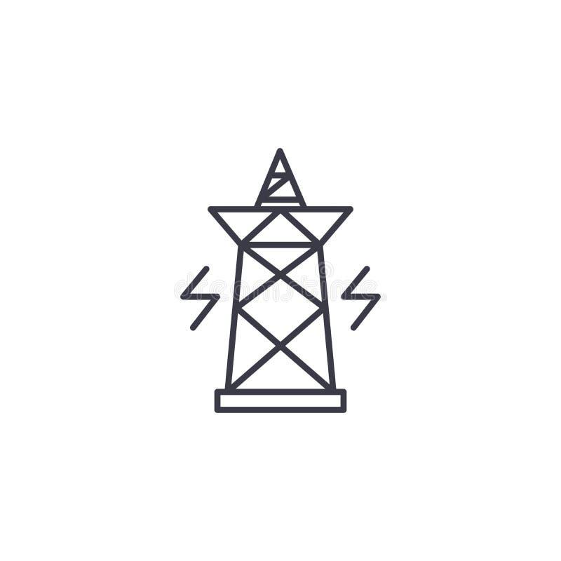Conceito linear do ícone do pilão da eletricidade Linha sinal do pilão da eletricidade do vetor, símbolo, ilustração ilustração royalty free
